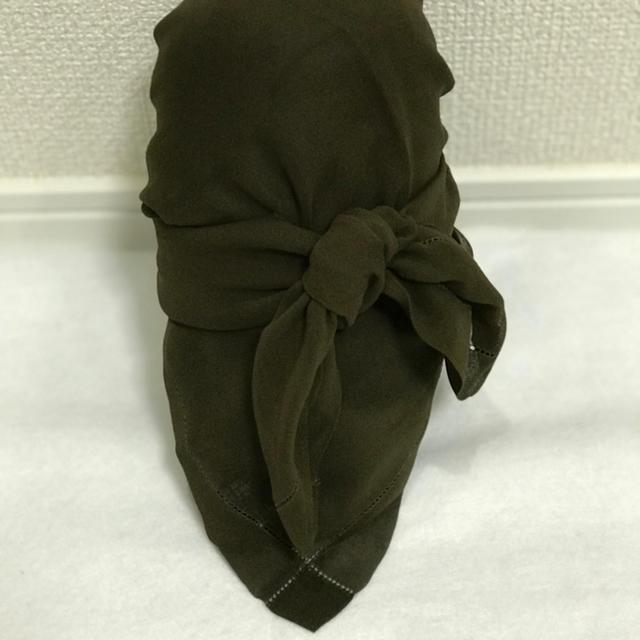 Ralph Lauren(ラルフローレン)のビンテージRalph Lauren シルクシフォンスカーフ Olive レディースのファッション小物(バンダナ/スカーフ)の商品写真