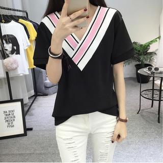 大きいサイズ レディース Vネックトップス(Tシャツ(半袖/袖なし))