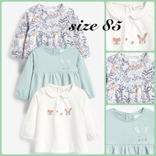 ネクスト(NEXT)の新作❁新品・size 85❁動物&フローラル 長袖Tシャツ 3枚組❁next(シャツ/カットソー)