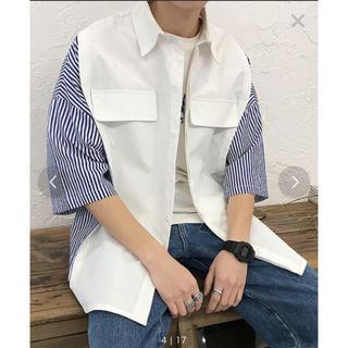 ディーホリック(dholic)のneos  ビッグシルエット  バイカラー  切替  ストライプ半袖シャツ(シャツ)