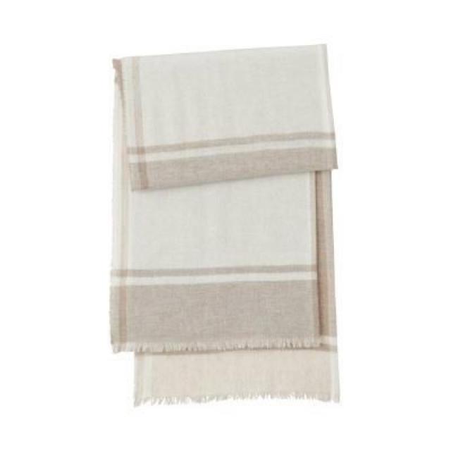 MUJI (無印良品)(ムジルシリョウヒン)の新品   無印良品  カシミヤ平織りストール(柄) レディースのファッション小物(ストール/パシュミナ)の商品写真