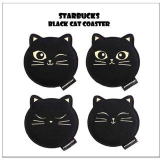 スターバックスコーヒー(Starbucks Coffee)のスターバックス 黒猫 コースター 4枚組 🎃(収納/キッチン雑貨)