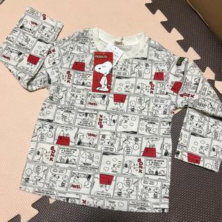 スヌーピー(SNOOPY)の新品☆スヌーピー   総柄長袖ロングTシャツ 95cm(Tシャツ/カットソー)