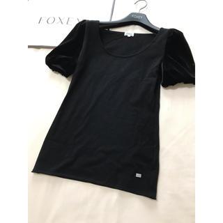 フォクシー(FOXEY)の美品 foxeyパフスリーブ カットソー ブラック 黒 フォクシー(カットソー(半袖/袖なし))