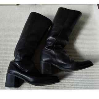 ノーブランドスクエア黒ロングブーツ(ブーツ)