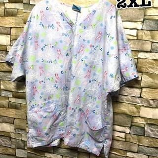 190 アメリカ古着 スクラブシャツ ドクターシャツ ホスピタルシャツ(シャツ/ブラウス(半袖/袖なし))