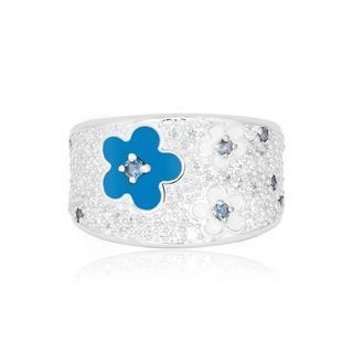 ブルー フラワー リング シルバー silver(リング(指輪))