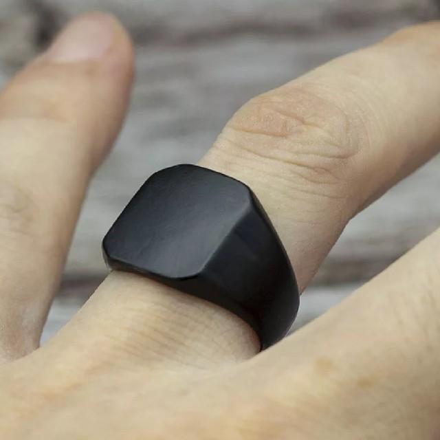 ブラック★シグネットスクエア ★リング メンズのアクセサリー(リング(指輪))の商品写真