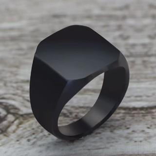 ブラック★シグネットスクエア ★リング(リング(指輪))