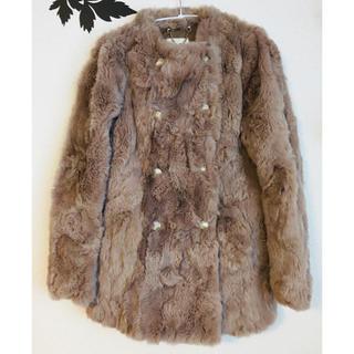 ローズバッド(ROSE BUD)のOKIRAKU オキラク モカベージュ リアルファー コート(毛皮/ファーコート)