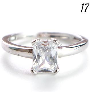 C22 リング 17号 CZ ダイヤモンド シンプル 一粒 レディース(リング(指輪))