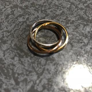 送料無料 22号 サージカルステンレス 三色三連リング 指輪 トリニティリング(リング(指輪))