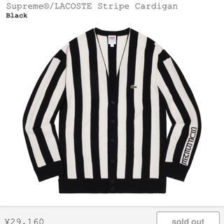 シュプリーム(Supreme)のsupreme lacoste stripe cardigan black S(カーディガン)