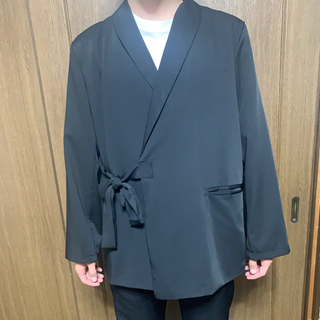サンシー(SUNSEA)の韓国  シャツジャケット ブラック (テーラードジャケット)
