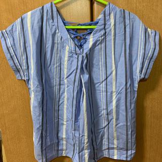 サマンサモスモス(SM2)のSamansa Mos2 水色ストライプシャツ(シャツ/ブラウス(半袖/袖なし))