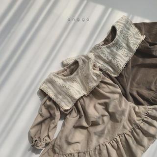 【未使用】anggo 刺繍襟ワンピース【110】(ワンピース)