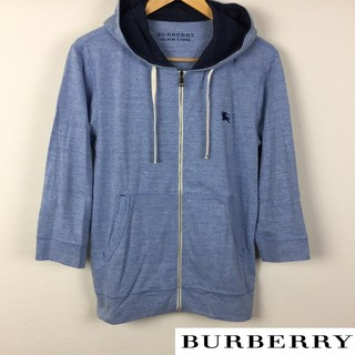 バーバリーブラックレーベル(BURBERRY BLACK LABEL)の美品 BURBERRY BLACK LABEL 7分袖パーカー ブルー サイズ2(パーカー)