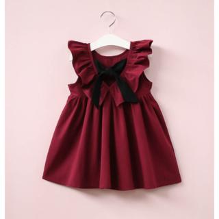 女の子 ワンピー 130 バックリボン ワインレッド フリル ドレス 韓国(ワンピース)