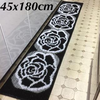 ■45x180cm■【日本製】シックな薔薇・ローズ キッチンマット ブラック