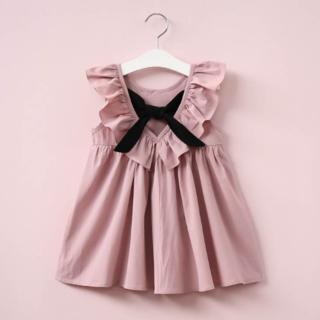 女の子 ワンピース 130 フリル リボン ピンク 韓国子供服(ワンピース)