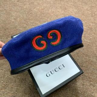 グッチ(Gucci)のGUCCI / GGパッチ付きウールベレー(ハンチング/ベレー帽)