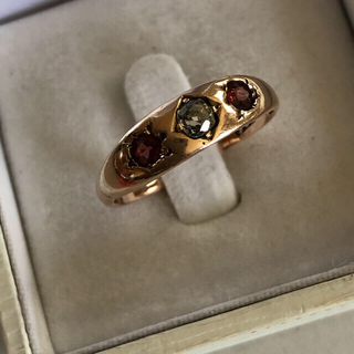 イギリスアンティークオールドマインカットダイヤモンドトルマリンリング(リング(指輪))