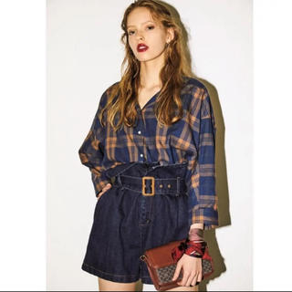 moussy チェックブラウス