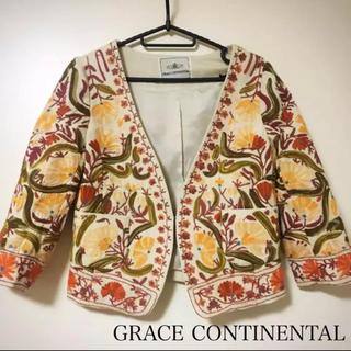 グレースコンチネンタル(GRACE CONTINENTAL)のGRACE CONTINENTAL 刺繍ジャケット グレースコンチネンタル(ノーカラージャケット)