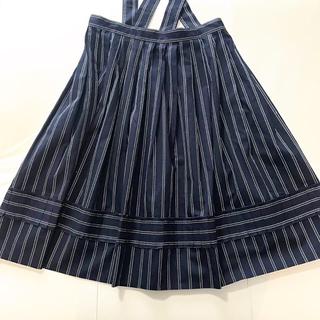 ジェーンマープル(JaneMarple)のサスペンダーストライプスカート(ひざ丈スカート)