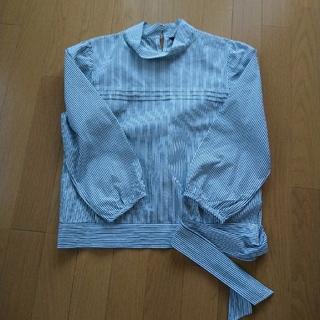 コムサイズム(COMME CA ISM)のシャツ リボン ストライプ コムサイズム L 美品(シャツ/ブラウス(長袖/七分))