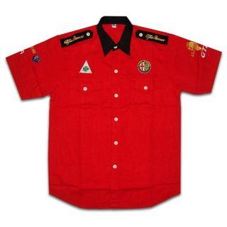 【送料無料】アルファロメオ 半袖クルーシャツ 赤 XXLサイズ(シャツ)