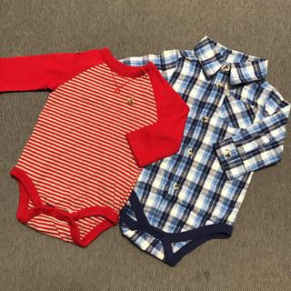 ベビーギャップ(babyGAP)のbabygap 長袖ボーダー チェックのシャツ ロンパース2枚セット 60(ロンパース)