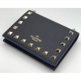 valentino garavani - VALENTINO/ヴァレンティノRock Studレザーフラップ折りミニ財布