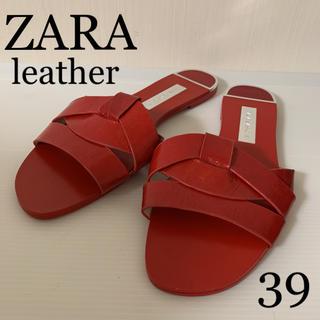 ザラ(ZARA)のZARA レザー フラットサンダル 赤 39(サンダル)