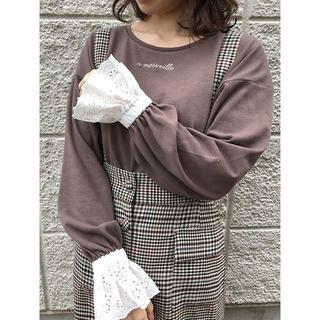 ワンアフターアナザーナイスクラップ(one after another NICE CLAUP)のnice claup♡袖レースロンT(Tシャツ(長袖/七分))