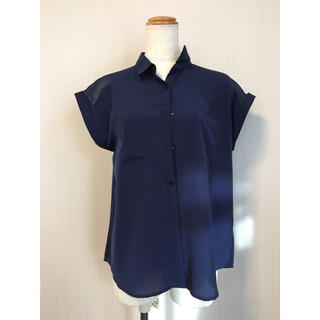 GU - メンズライクシャツブラウス♡シフォン半袖ネイビー