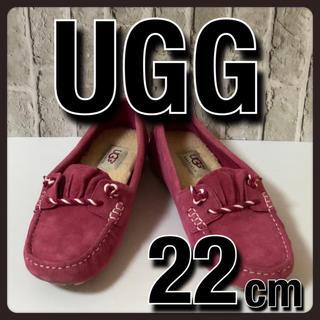 アグ(UGG)のUGG アグ フラットシューズ ピンク モカシン スエード 22cm(スリッポン/モカシン)