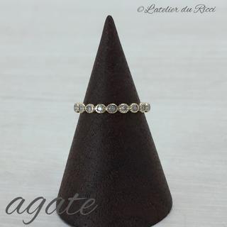 アガット(agete)の《廃盤》agate フリルリング K10 YG ダイヤモンド 7号(リング(指輪))