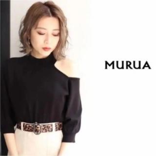 ムルーア(MURUA)のMURUA カットショルダーパフニット ブラック(ニット/セーター)