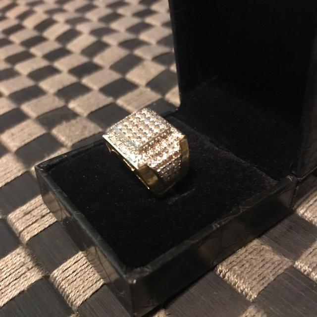 スターリングシルバー 14kコーティング 人工ダイヤ 10号 メンズのアクセサリー(リング(指輪))の商品写真