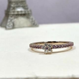 最終❤K18 PG ピンクサファイア フラワー ダイヤモンドリング計0.32ct(リング(指輪))