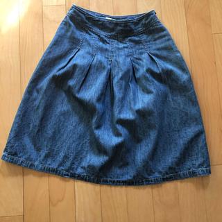 ローラアシュレイ(LAURA ASHLEY)のフレアースカート 麻混(ひざ丈スカート)