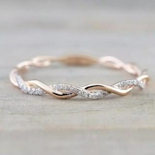 20号*ジルコニアラインねじりツイストリング指輪*Silver925ゴールド(リング(指輪))