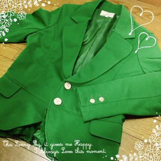 ドラッグストアーズ(drug store's)のカットジャケット♡緑担当♡個性派コーデ♡(テーラードジャケット)