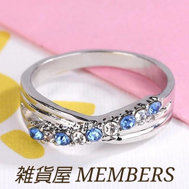 送料無料16号クロムシルバーブルートパーズスーパーCZダイヤデザイナーズリング指 レディースのアクセサリー(リング(指輪))の商品写真