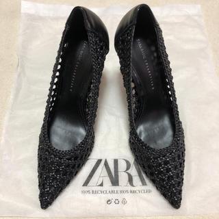 ザラ(ZARA)の【新品未使用】ZARA 編み込みハイヒール 39 Black(ハイヒール/パンプス)