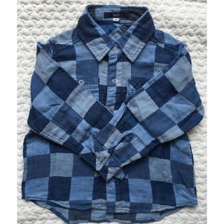 SHIPS 青 長袖チェックシャツ size100