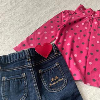 ギャップ(GAP)の【美品】BeBe★デニムパンツ 90cm&gap★カットソー 95cm(Tシャツ/カットソー)