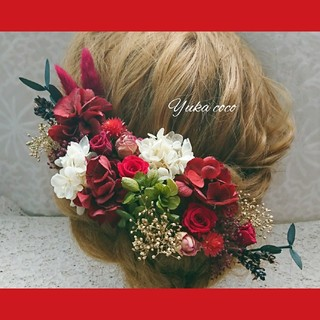 真っ赤なバラのドライフラワー ヘッドドレス❁¨̮(ヘッドドレス/ドレス)