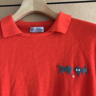 ミナペルホネン(mina perhonen)の超美品♪サリースコット オレンジ系レッド襟付きニット コットンウール猫の刺繍 M(ニット/セーター)